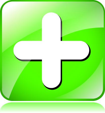 green plus: illustration of green plus icon on white background