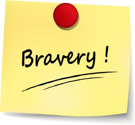 bravery: illustration of bravery yellow note on white background
