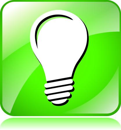 green light bulb: illustration of green light bulb icon on white background Illustration