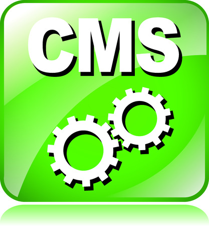 cms: illustration of green cms icon on white background