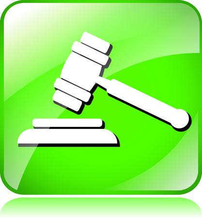 auction gavel: illustration of green auction gavel icon on white background Illustration