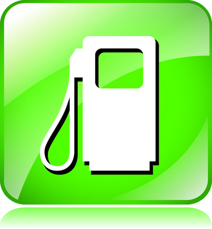 fuel pump: illustration of green fuel pump icon on white background Illustration
