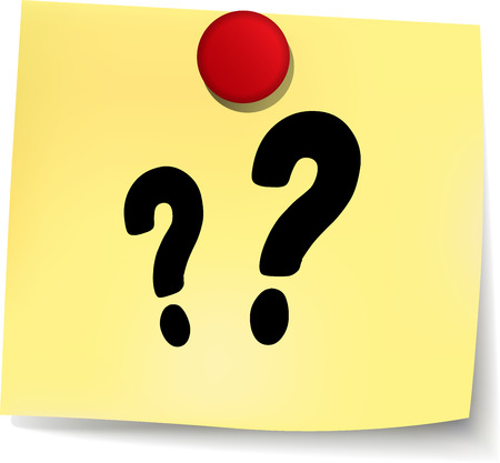 unsure: illustration of questions yellow note on white background