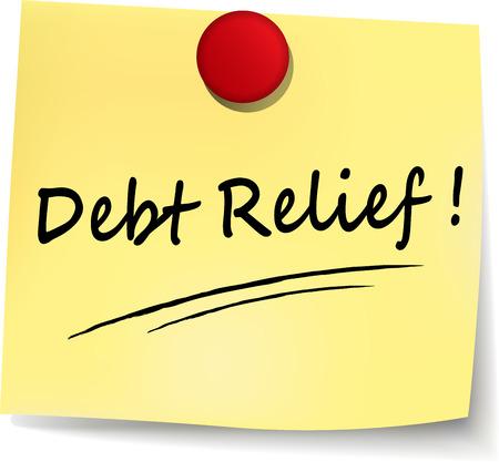 빚: illustration of debt relief yellow note on white background