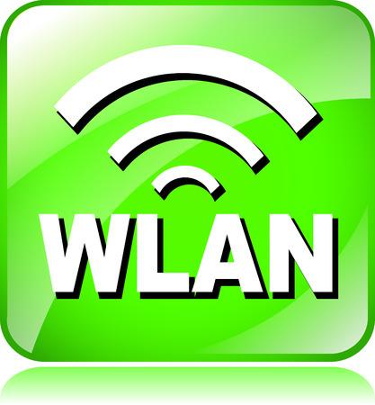 wlan: illustration of green wlan icon on white background Illustration