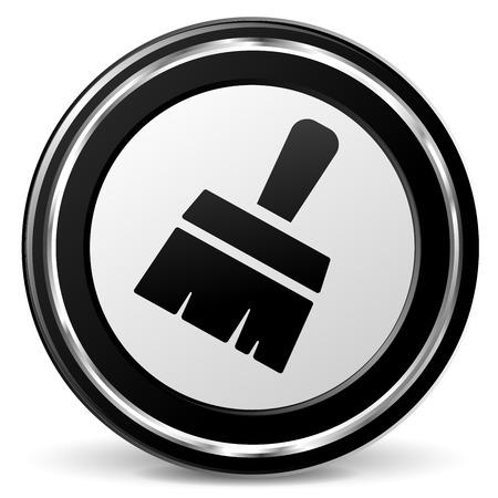 illustration of paintbrush icon with metal ring Illustration