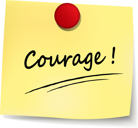 illustration of courage yellow note on white background