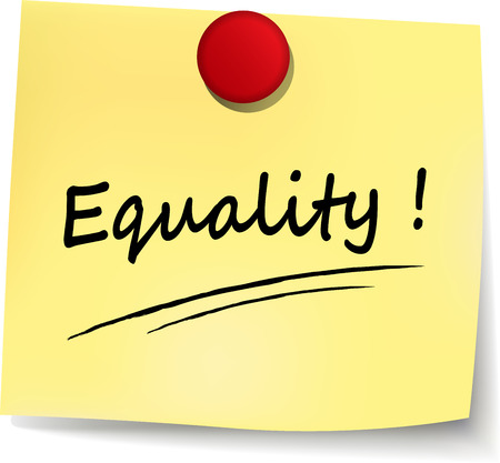 inclusive: illustration of equality yellow note on white background Illustration