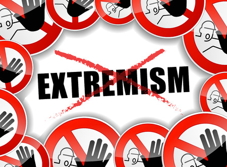 illustration of stop extremism problems abstract concept