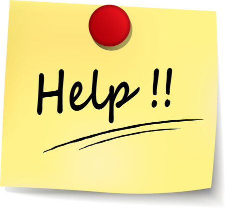 help wanted sign: illustration of help yellow note on white background