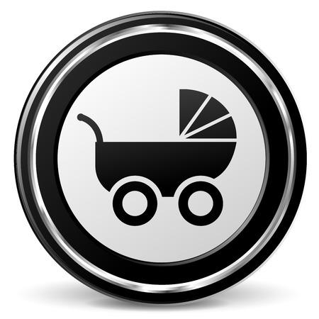 illustration of pram icon with metal ring