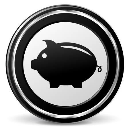 alu: illustration of piggy bank icon with metal ring