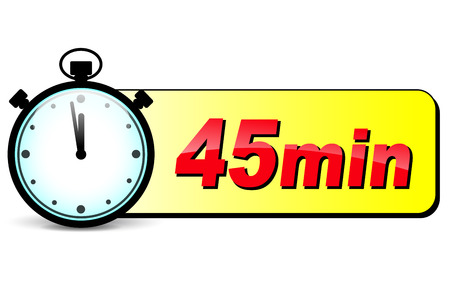 forty: illustration of forty five minutes stopwatch design icon Illustration