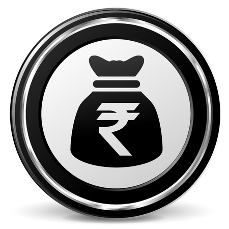 illustration of rupee bag icon with metal ring