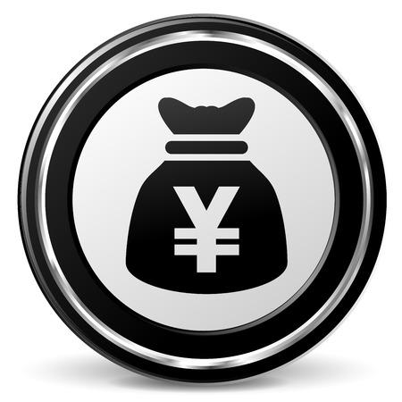 illustration of yen bag icon with metal ring Illustration