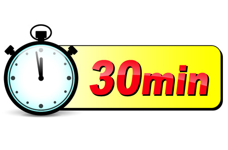minutes: illustration of thirty minutes stopwatch design icon