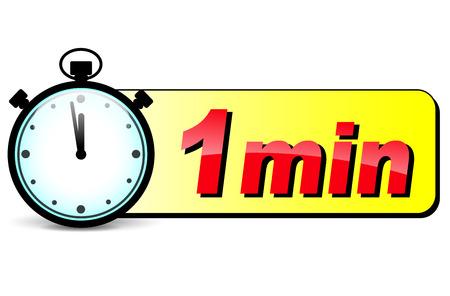 illustration of one minute stopwatch design icon Illustration