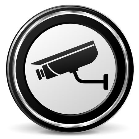 surveillance symbol: illustration of video camera icon with metal ring