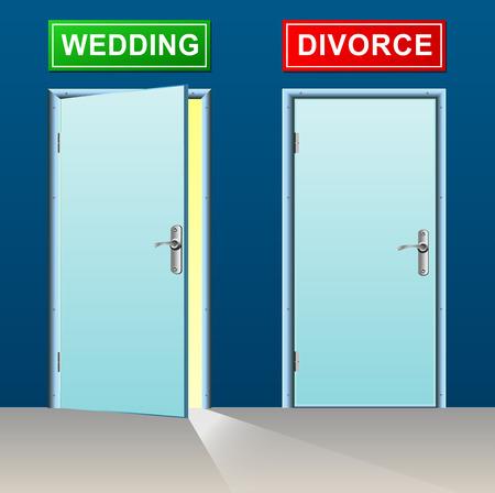 divorce: illustration of wedding and divorce doors concept