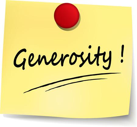 generosity: illustration of generosity yellow note on white background
