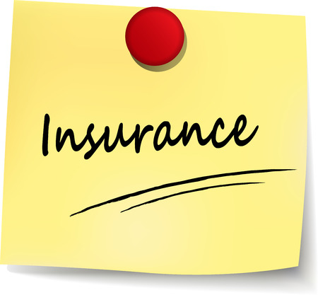 liability: illustration of insurance yellow note on white background