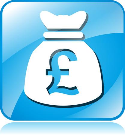 sterling: illustrazione della sterlina icona quadrata blu su sfondo bianco