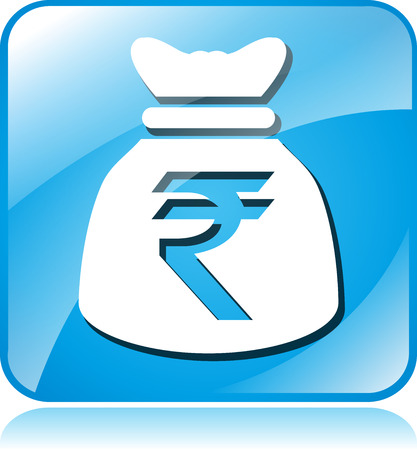 rupee: illustration of rupee blue square icon on white background