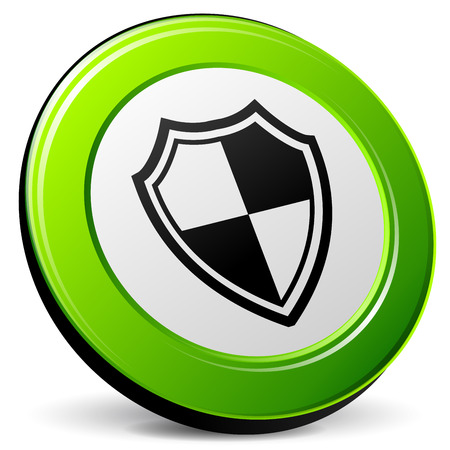 secure site: illustration of shield 3d icon on white background