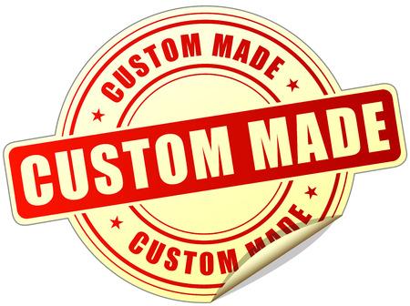 custom made: illustration of custom made label design red icon