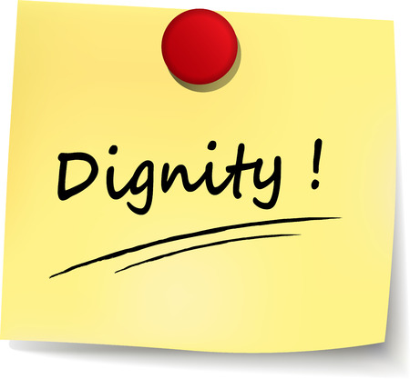 dignity: illustration of dignity note on white background