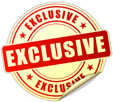 exclusive: illustration of exclusive label design red icon