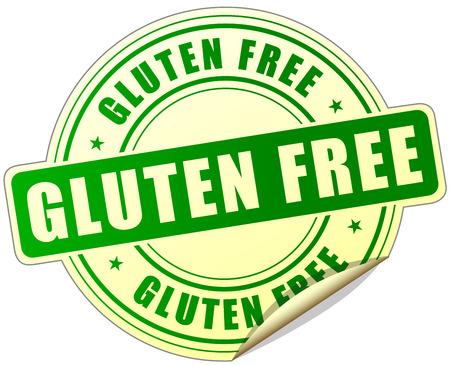 illustration of gluten free label design green icon