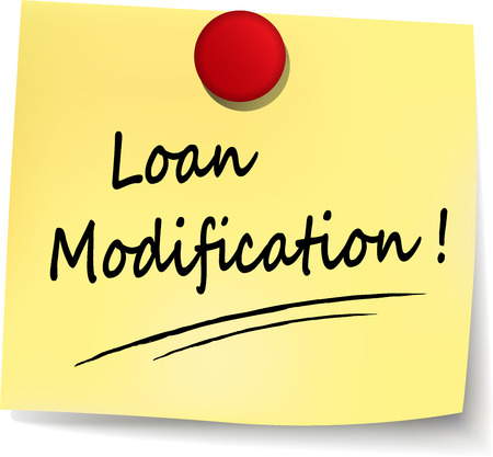 modification: illustration of loan modification note on white background