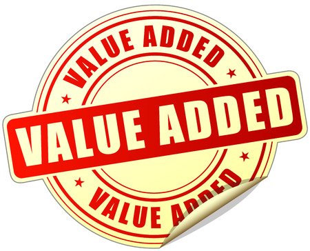 are added: illustration of value added label design red icon Illustration
