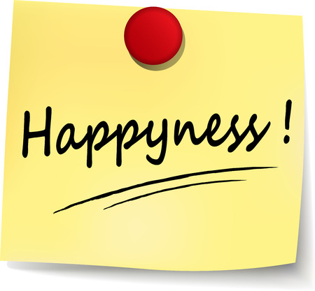 happyness: illustration of happyness note on white background