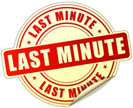 minute: illustration of last minute label design red icon Illustration