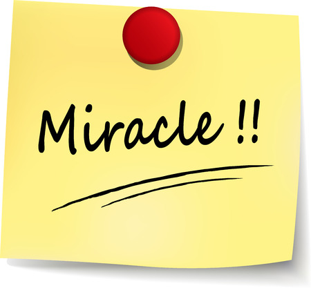 illustration of miracle note on white background