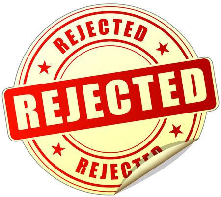 rejection: illustration of rejected label design red icon