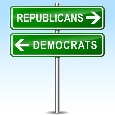 republicans: illustration of republicans and democrats directions signs