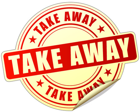 go to store: illustration of take away label design red icon