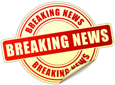 illustration of breaking news sticker on white background