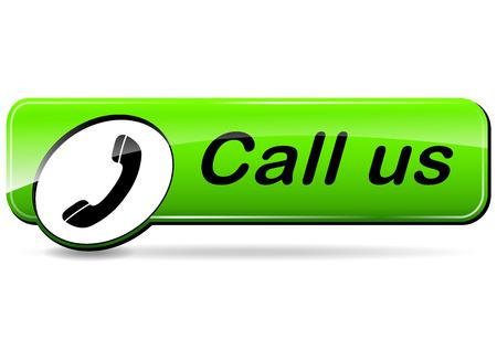call us: illustration of call us green design web button Illustration