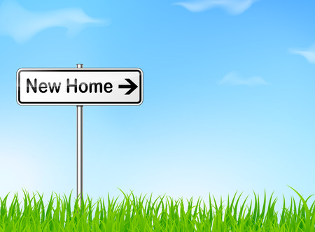 new direction: illustration of new home sign on nature background