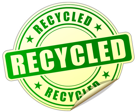 or recycled: illustration of recycled green sticker on white background Illustration