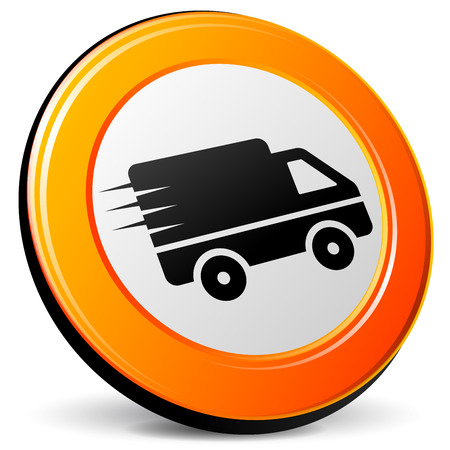 illustration of van 3d design orange icon