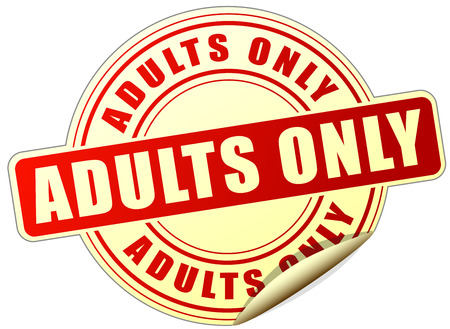 adults only: illustration of adults only sticker on white background