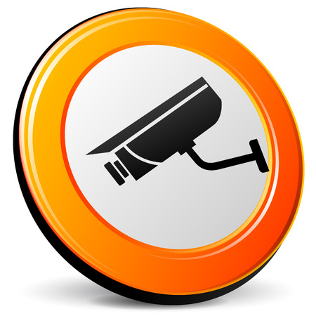illustration of camera suveillance 3d design orange icon