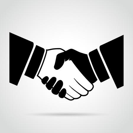 black handshake: illustration of black handshake icon on white background Illustration
