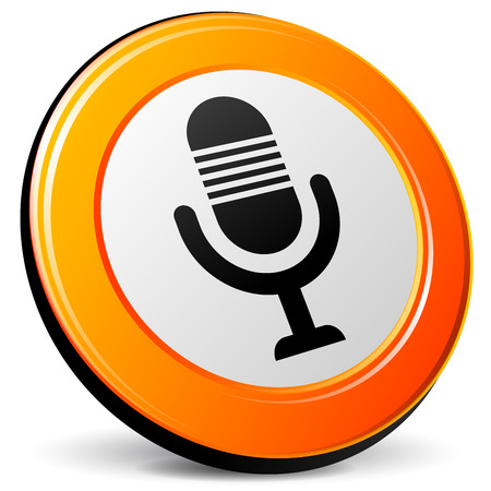 illustration of microphone 3d design orange icon Vector