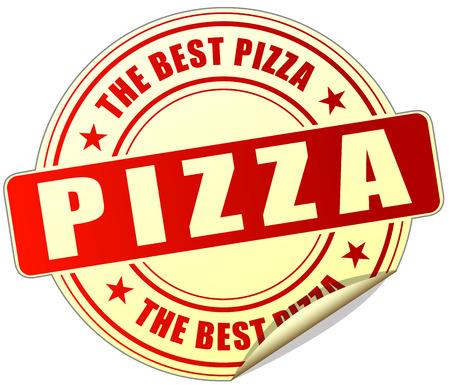 pizzeria label: illustration of pizza red sticker on white background Illustration